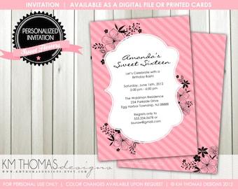 Floral Birthday Invitation - Pink Flower Invitation - Girl Birthday Invitation - Girl Flower Birthday Invitation - Pink Stripes - BD156