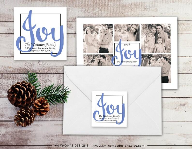 Holiday Return Address Label: Square Label - Joy Return Address Label -  Blue Christmas Label - Return Address Sticker - WH210