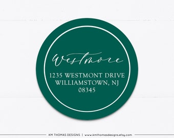 Personalized Return Address Sticker Round, Holiday Address Label Printable, Christmas Return Mailing Label Green, WH126