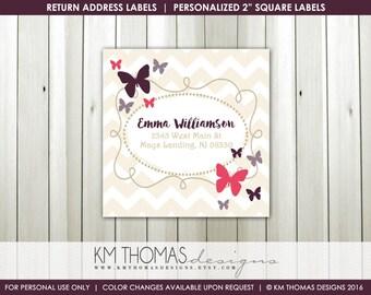 Printable Return Address Labels : Girl Butterfly Return Address Labels - Purple Butterflies - Square Label - BD126