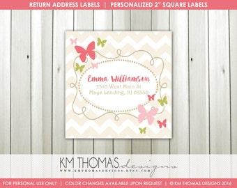 Girl Return Address Labels : Printable Butterfly Return Address Labels - Pink Butterflies - Square Label - BD126