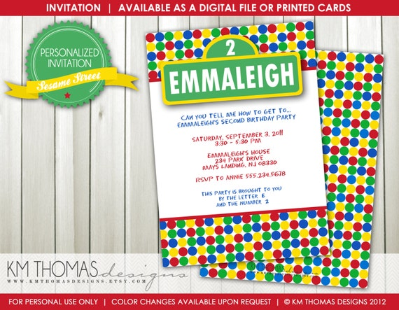 photograph relating to Printable Sesame Street Sign titled Sesame Road Birthday Invitation - Boy Birthday Invitation
