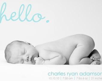 Boy Birth Announcement - Baby Boy Announcement - Photo Announcement - Adoption Announcement - Full Photo - Hello - Blue - BA104