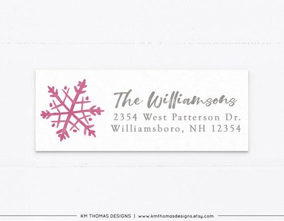 Holiday Return Address Labels Christmas Return Address Labels Snowflake Return Address Labels