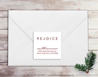 Printable Return Address Label - Square Label - Holiday Return Address Label - Christmas Label - Rejoice Label - Red Label - WH216