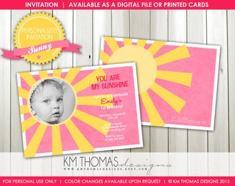 Sunshine Birthday Invitation, Printable Girl Birthday Invitation, Sunshine Party, You Are My Sunshine Invitation, Pink Birthday Party, BD116