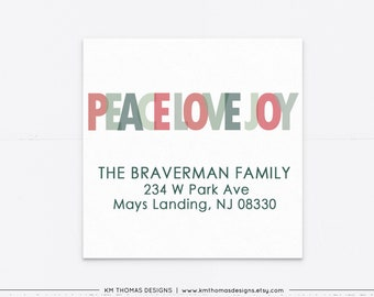 Holiday Address Label Printable, Christmas Return Address Label Sticker Peace Love Joy, Red and Green Label, WH117