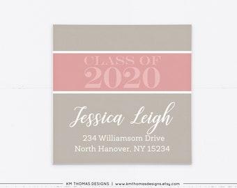 Return Address Label for Graduation Invitations, Pink Mail Return Label Printable, GR102