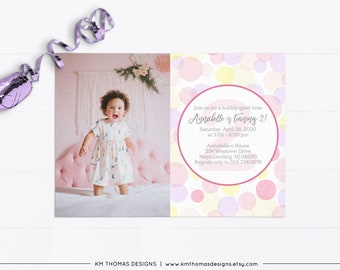 Pink Girl Bubble Birthday Party Invitation BD178