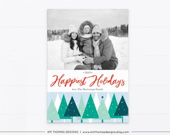 Happiest Holidays Card with Photo, Christmas Photo Card Printable, Winter Forest Green and Red, WH116