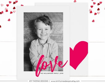 Love Valentines Day Photo Card, Pink Love Card, Personalized Card, Printable Modern Valentines Card, Pink Heart, Digital Valentines  VA109