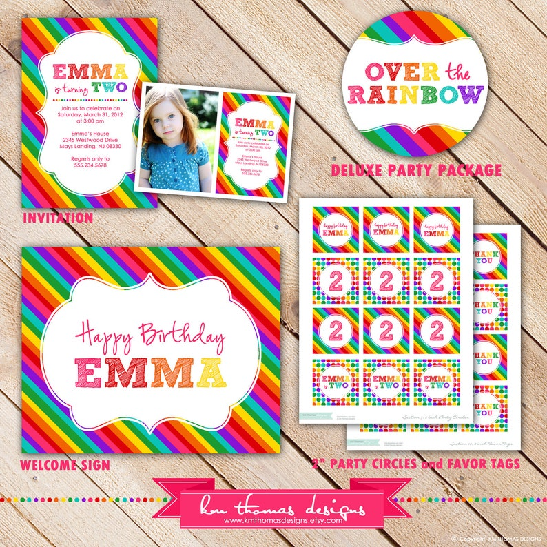 Deluxe OVER the RAINBOW Collection...Custom Printable Party image 1