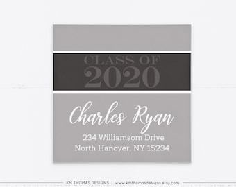 Graduation Return Address Label Gray, Printable Mailing Label Square, GR102