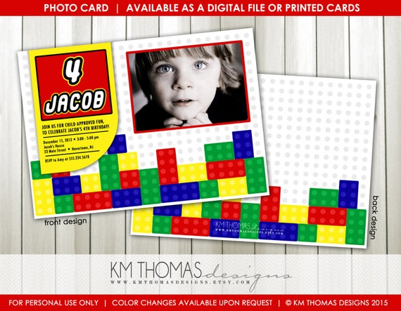Colorful Building Blocks Birthday Invitation Personalized Boy