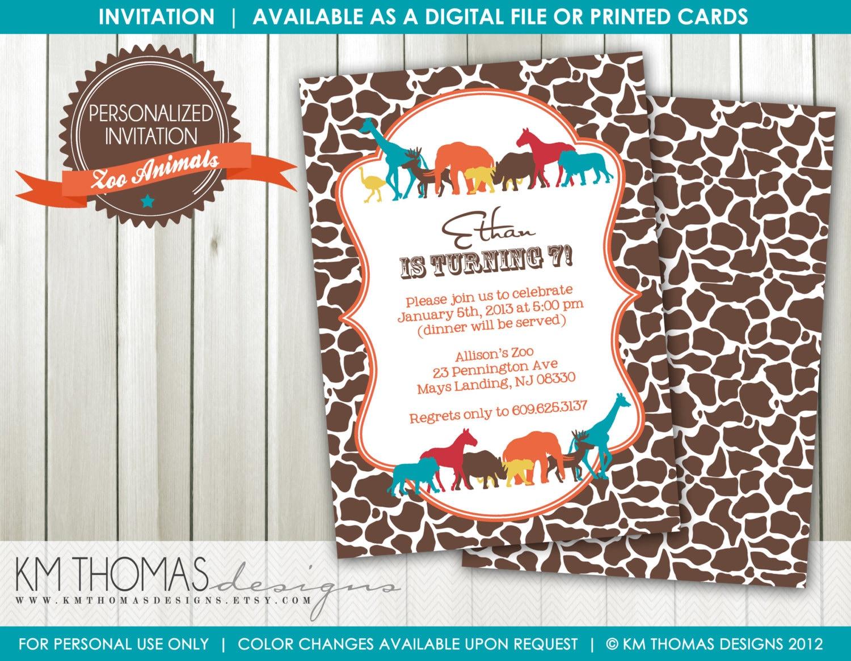 Zoo Animal Birthday Invitation Boy Birthday Party Invitation | Etsy