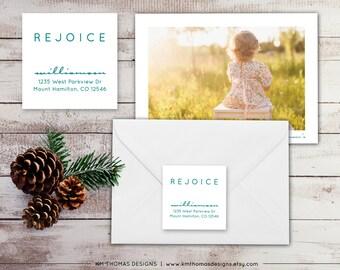 Printable Return Address Label - Square Label - Holiday Return Address Label - Christmas Label - Rejoice Label - Blue Label - WH216