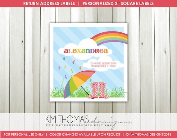 printable return address labels rainbow return address etsy