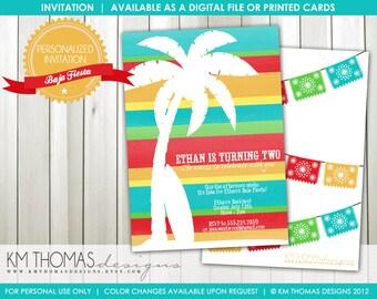 Baja Fiesta Birthday Party: Beach Party - Palm Tree - Fiesta - Surfboard - Printable - Digital - #185