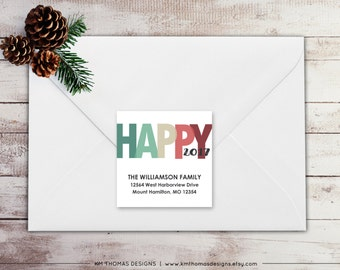 New Years Return Address Label - Square Label - Printable Return Address Label - Holiday Label - Address Label - Green 2017 Label - WH189