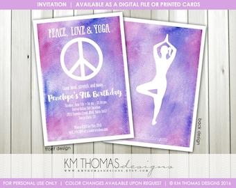 Peace Sign Birthday Invitation - Printable Girl Birthday Invitation - Peace Love Yoga - Yoga Party Invitation - Watercolor - BD195