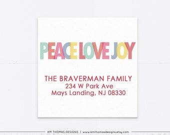 Printable Christmas Return Address Label Red, Peace Love Joy Holiday Address Label, Square Mailing Label, WH117