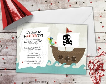 Pirate Birthday Invitation - Pirate Ship Birthday Invitation - Pirate Birthday Party - Skull and Crossbones - Pirate Printable - BD201