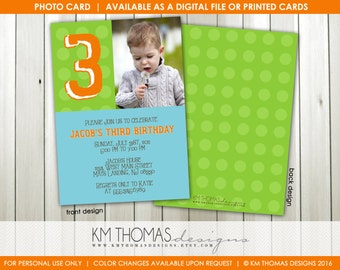 Personalized Polka Dot Photo Birthday Invitation : 3rd Birthday Photo Invitation - Polka Dot Boy Birthday Invite - Green and Blue - BD148