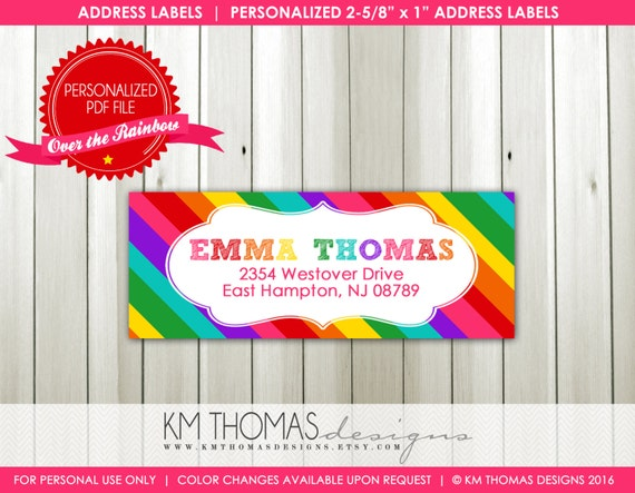 rainbow printable return address label rainbow background
