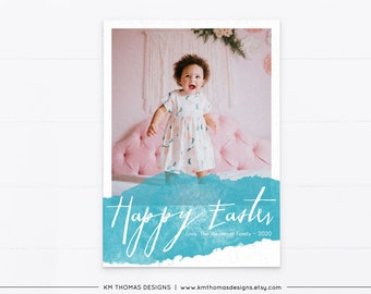 Printable Easter Card with Picture, Watercolor Photo Easter Card Blue, EA103