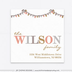 Joy Christmas Return Address Label Printable WH224 Watercolor Christmas Sticker Blue Holiday Mailing Label Personalized
