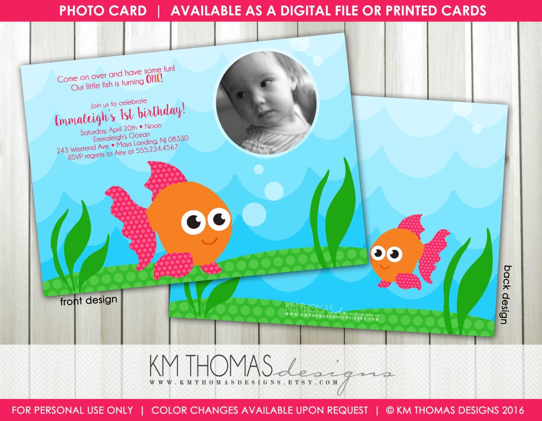 Goldfish Birthday Invitations Fish Invitations Printable Etsy