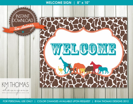 graphic relating to Printable Birthday Signs titled Birthday Welcome Indicator - Zoo Animal Birthday Indicator - Content