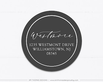 Printable Address Labels Round, Christmas Return Address Label Gray, Modern Holiday Mailing Label, WH126