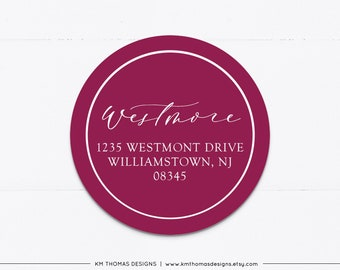Round Return Address Label Personalized, Printable Holiday Address Labels Maroon, Christmas Return Mailing Label, WH126