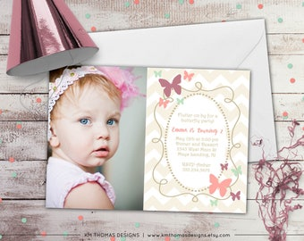 Butterfly Birthday Invitation - Girl Butterfly Invitation - Printable Butterfly Invitation - Butterfly Photo Invitation -  BD126