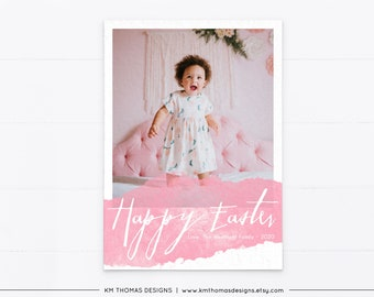 Watercolor Easter Card with Photo, Pink Printable Photo Card Personalized, EA103