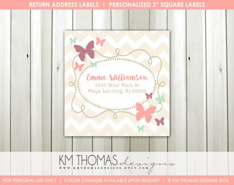 Butterfly Return Address Labels : Printable Return Address Labels - Pink Butterflies - Square Label - BD126
