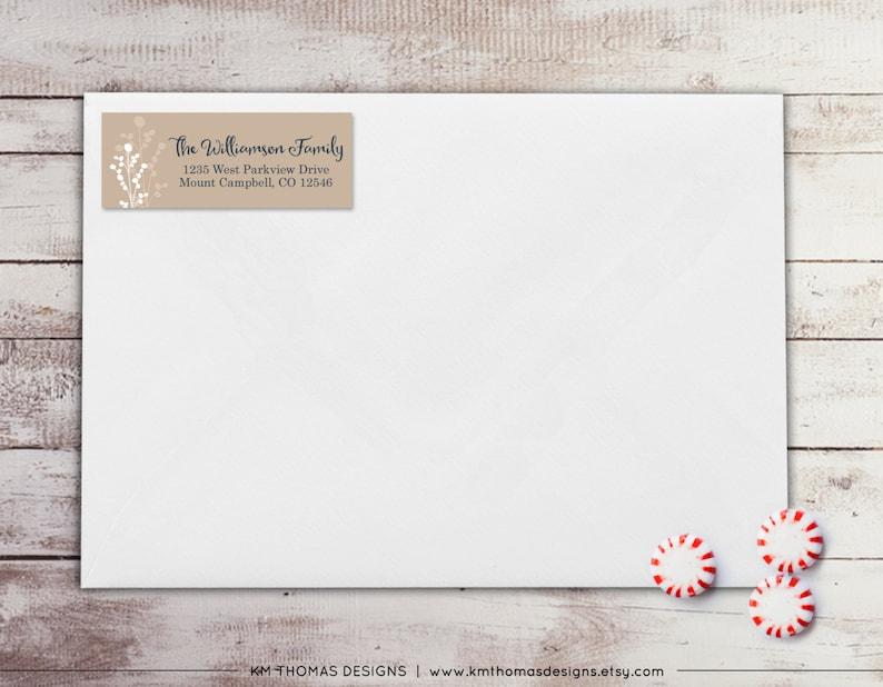 Printable Tan Address Label Berry Return Address Label: Personalized Holiday Return Address Label WH174 Sticker Rectangular Label
