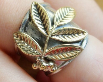 Wide Band Silver Ring - Metalwork Silver and Brass Floral Ring - Olive Branch Ring - Sterling Silver Peace Ring -  Armor Ring Silver