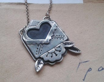 Love Letter Necklace - Love Letter Sterling Silver Necklace - Old school Tattoo Jewelry - Silver Envelope Necklace - Tattoo Silver Jewelry