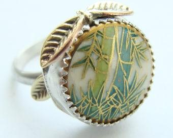 Bamboo stalks sterling silver ring - Satsuma button 1940'S vintage - Bamboo stack ring sterling silver