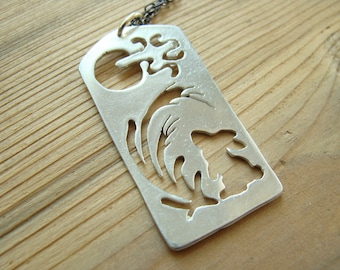 Silver bunny dog tag necklace - Chinese calendar - year of the rabbit - Snow rabbit necklace - Rabbit necklace sterling silver