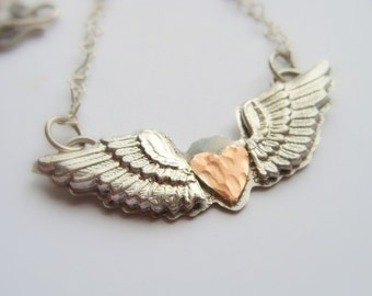 Winged Heart Silver Necklace - Winged Heart Necklace - Valentine Heart Jewelry - Flying Heart Necklace - Heart Gift for Her