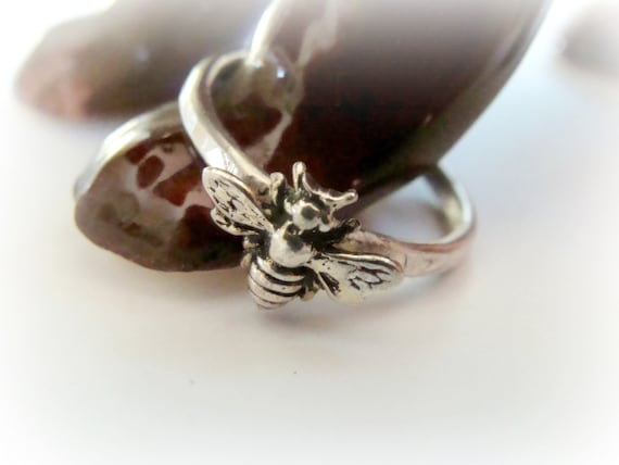 Tiny Bee Silver Stack Ring Metalwork Bee Ring Sterling Etsy