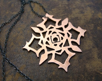 Vampire Knight Sterling Silver Necklace - Cross Academy Rose Symbol artisan charm - Cosplay Jewel Sterling Silver Necklace