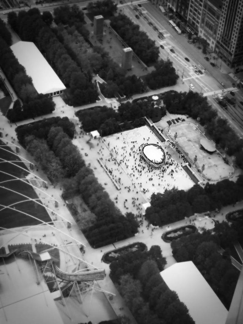 The Bean Cloud Gate Millennium Park Chicago Original Black and White  Photograph Home Decor Gift Icon