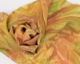 Silk Infinity Scarf - Hand Painted Circle Scarves Burnt Orange Rust Gold Mustard Yellow Olive Green Fall Autumn