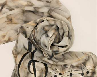 Hand Painted Silk Scarf - Music Notes Musical Neutral Black Gold Gray Grey Taupe Tan Beige Piano Choir Singing Handpainted Scarves