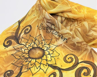 Hand Painted Silk Scarf - Handpainted Scarves Sunflower Yellow Gold Brown Golden Warm Sunflowers Flower Autumn Fall