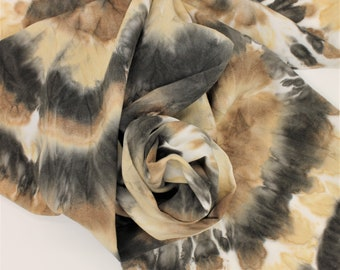 Hand Dyed Bamboo Scarf - Tie Dye Black Brown Tan Cream Leopard Cheetah Neutral Animal Print Ladies Scarves Gift Soft Rayon Hand Painted